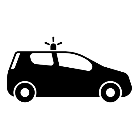 Security car Police car Car with siren icon black color vector illustration flat style simple image Illustration