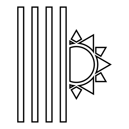Venetian blind and sun Jalousie close sun Jalousie shutdown light Louver concept Shutter symbols icon black color outline vector illustration flat style simple image