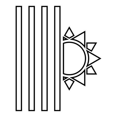 Venetian blind and sun Jalousie close sun Jalousie shutdown light Louver concept Shutter symbols icon black color outline vector illustration flat style simple image Ilustracja