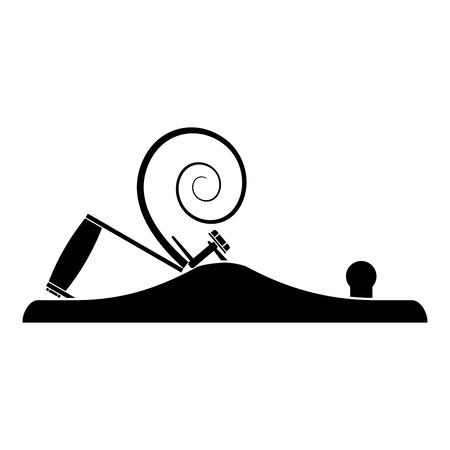 Piano da carpentiere con metallo con legno da rasatura Icona piano da falegname colore nero illustrazione vettoriale stile piatto semplice immagine