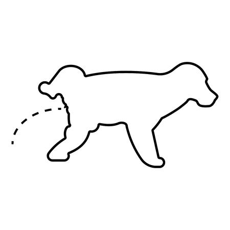 Pissende hond Puppy pissen huisdier pissen met opgeheven been zwarte kleur overzicht vector illustratie vlakke stijl eenvoudig pictogramafbeelding