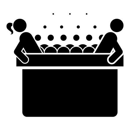 여자와 남자와 뜨거운 월풀 거품 거품 목욕 욕조 휴식 욕실 목욕 스파 아이콘 블랙 컬러 벡터 일러스트 레이 션 평면 스타일 간단한 이미지