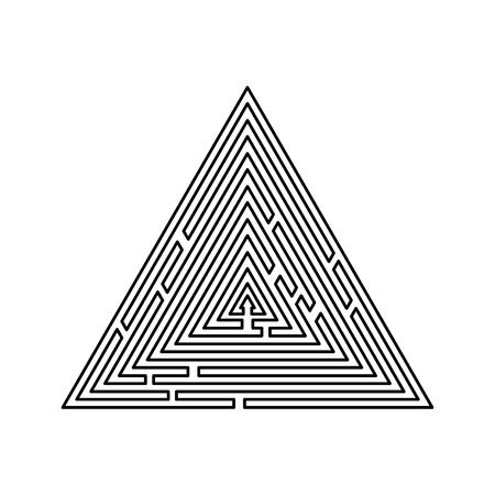Laberinto triangular Laberinto enigma Laberinto enigma icono Ilustración de vector de contorno de color negro tipo plano simple imagen