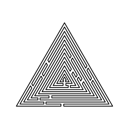 Triangular labyrinth Maze conundrum Labyrinth conundrum icon black color outline vector illustration flat style simple image