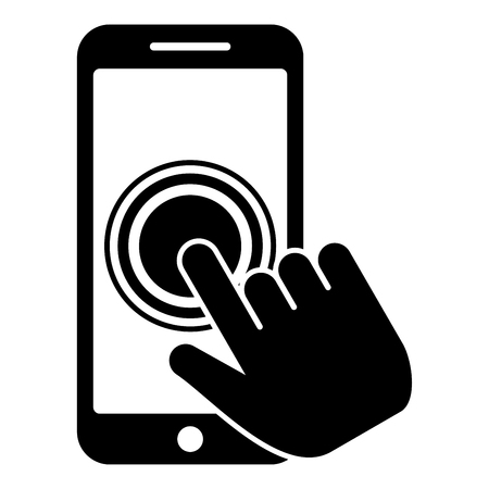 Click on touch screen smartphone Modern smartsphone with hand clicking on screen Finger click on mobile phone Action in apps cellphone Using telephone icon black color vector illustration flat style simple image Ilustração