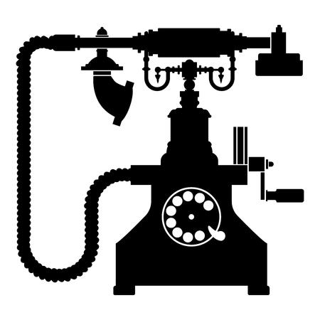 Vintage telephone retro rotary plate Antique phone Old phone Retro phone Rarity telephone Vintage phone Antique telephone Rarity phone icon black color vector illustration flat style simple image Reklamní fotografie - 124610245