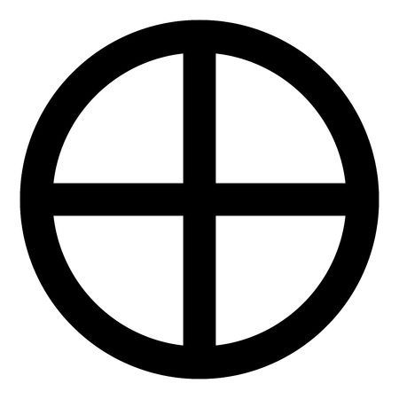 Cross round circle on bread concept parts body Christ Infinity sign in religious icon black color vector illustration flat style simple image