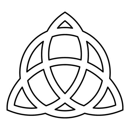 Nudo Trikvetr con círculo Poder de tres símbolo vikingo tribal para tatuaje Trinity nudo icono ilustración vectorial de contorno de color negro tipo plano simple imagen