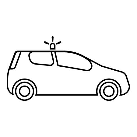 Security car Police car Car with siren icon black color outline vector illustration flat style simple image