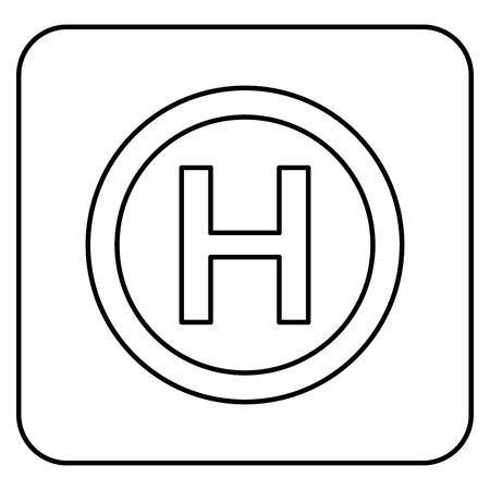 Pista de aterrizaje de helicópteros Helicóptero icono de lugar de esquema de color negro ilustración vectorial tipo plano simple imagen