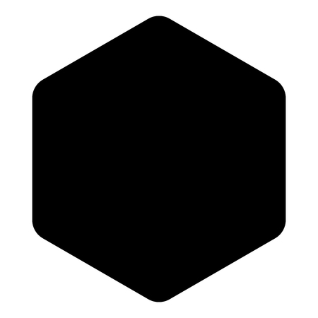 Hexagon with rounded corners icon black color vector illustration flat style simple image