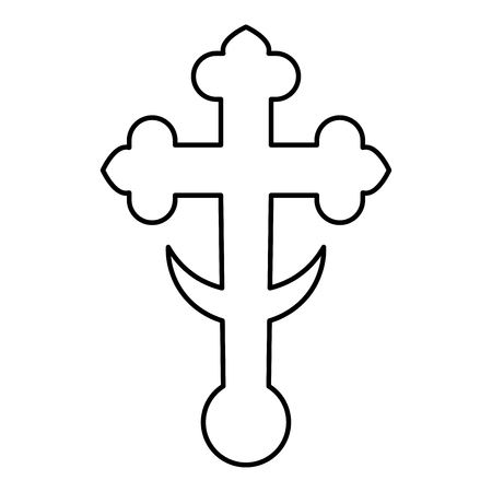 Cross trefoil shamrock on church cupola domical with half-moon Cross monogram Religious cross icon black color outline vector illustration flat style simple image