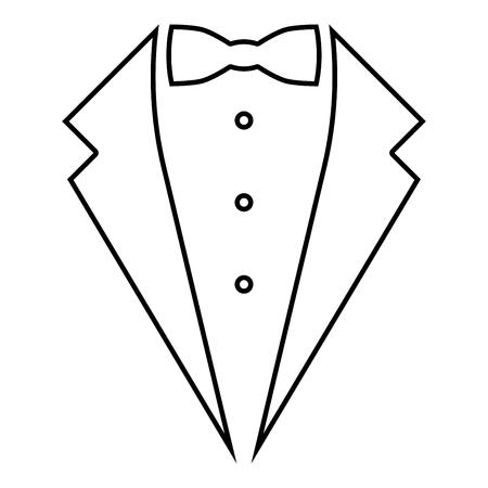 Service symbole smoking bow concept Tuxedo signe Tux idée gentleman garçon d'honneur costume icône noir couleur contours vector illustration télévision image simple style Vecteurs
