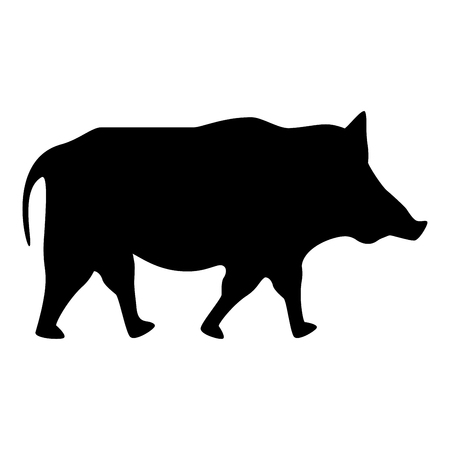 Wild boar Wild pig Hog Warthog icon black color vector illustration flat style simple image