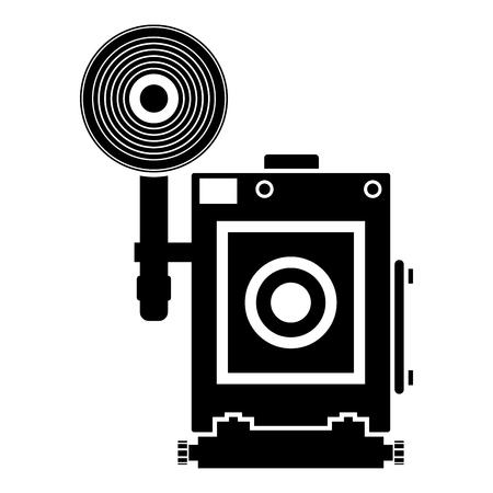 Retro camera Vintage photo camera face view icon black color vector illustration flat style simple image Ilustração
