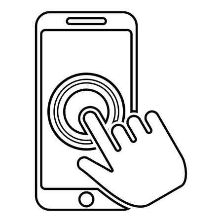 Click on touch screen smartphone Modern smartsphone with hand clicking on screen Finger click on mobile phone Action in apps cellphone Using telephone icon black color outline vector illustration flat style simple image Imagens - 124610273