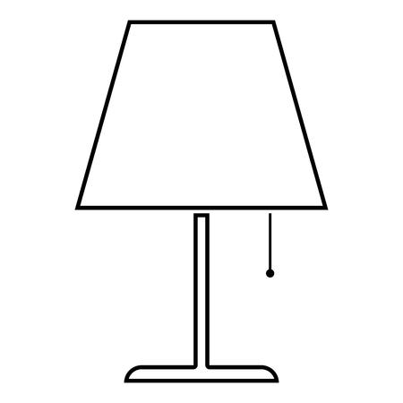 Tischlampe Nachtlampe klassische Lampe Symbol schwarze Farbe Umrisse Vector Illustration Flat Style simple Image Vektorgrafik