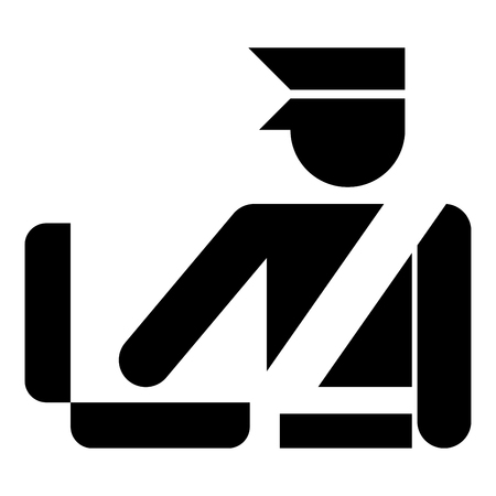 Border control concept Customs officer check baggage Detailed luggage control Baggage control sign icon black color vector illustration flat style simple image