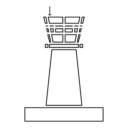 Airport control tower Control tower air traffic icon black color outline vector illustration flat style simple image