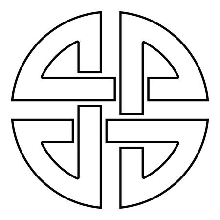 Bouclier de noeud symbole de protection ancienne icône symbole de couleur noire contours vector illustration télévision image simple style