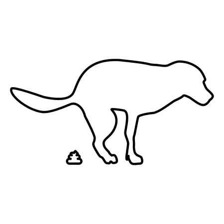 The dog poops icon black color outline vector illustration flat style simple image Illustration