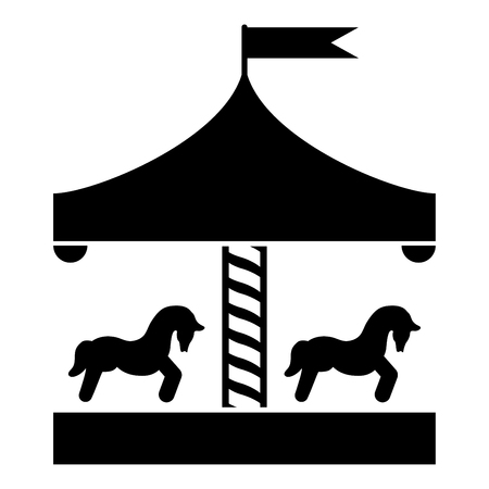 Carousel roundabout merry-go-round Vintage merry-go-round icon black color vector illustration flat style simple image
