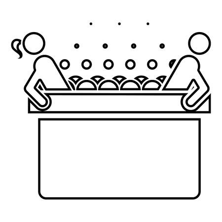 Bain à remous chaud avec femme et homme Baignoire Spa avec bulles de mousse Baignoire Relax salle de bains Baignoire spa icône couleur noire contour vector illustration télévision image simple style
