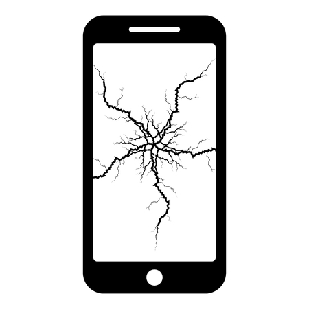 Smartphone with crack on display Broken modern mobile phone Shattered smartphone screen Phone with broken matrix of screen Cell phone with cracked touch screen in center Broken glass telephone icon black color vector illustration flat style simple image