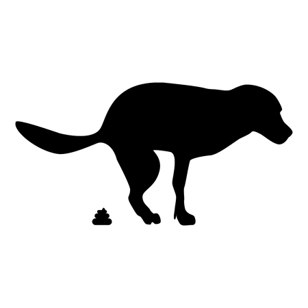 The dog poops icon black color vector illustration flat style simple image Illustration