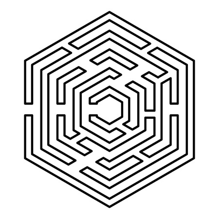 Hexagonal Maze Hexagon maze Labyrinth with six corner icon black color outline vector illustration flat style simple image