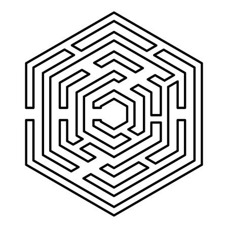 Laberinto hexagonal Laberinto hexagonal Laberinto con seis esquinas icono de contorno de color negro ilustración vectorial tipo plano simple imagen