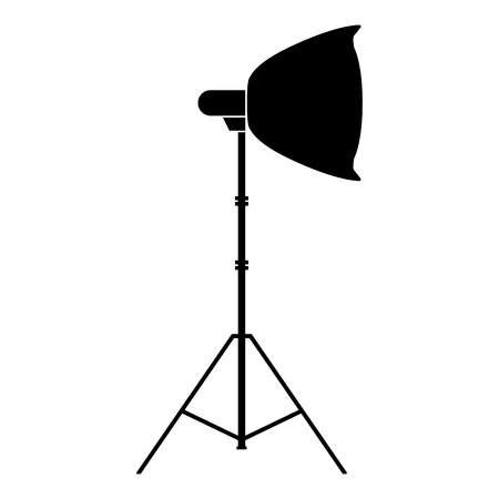 Spotlight on tripod Light projector Softbox on tripod Tripod light Equipment for professional photography Theater light icon black color vector illustration flat style simple image
