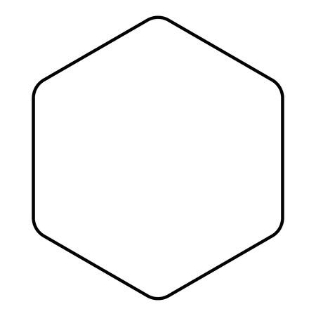 Esagono con angoli arrotondati icona colore nero profilo illustrazione vettoriale stile piatto semplice image Vettoriali