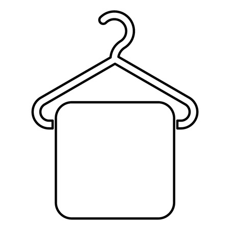 Towel on hanger Hanger towel Clothes hanger with hanging towel icon black color outline vector illustration flat style simple image