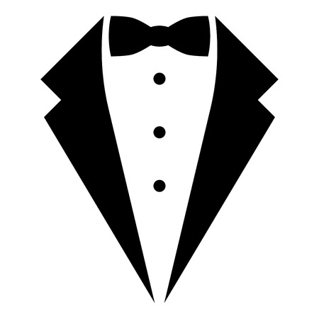 Symbol service dinner jacket bow Tuxedo concept Tux sign Butler gentleman idea Waiter suit icon black color vector illustration flat style simple image Imagens - 124610301