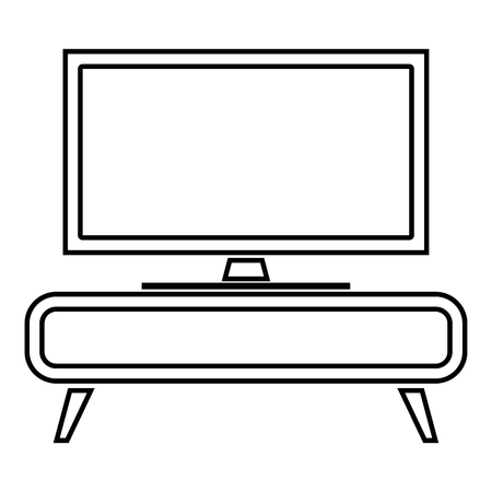 TV set on the cupboard commode bedside table Home interior concept icon black color outline vector illustration flat style simple image Ilustração
