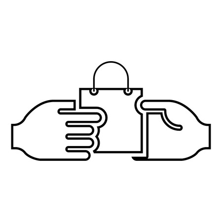Hand passes the package to the other hand Hand pass bag other hand Concept commerce Idea trade Market subject Marketing icon black color outline vector illustration flat style simple image