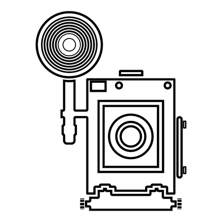 Retro camera Vintage photo camera face view icon black color outline vector illustration flat style simple image