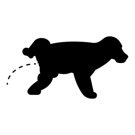 Pissing dog Puppy pissing Pet pissing with raised leg icon black color vector illustration flat style simple image