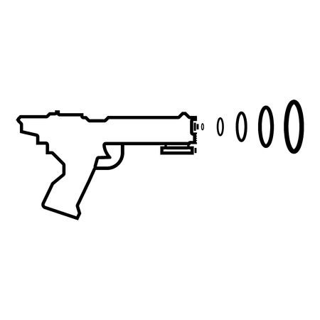Space Blaster Children's Toy Futuristic gun Space gun shooting blaster wave icon black color outline vector illustration flat style simple image Imagens - 124610307