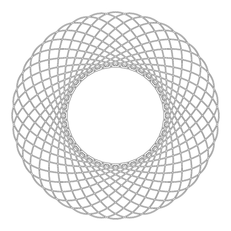 Spirograph abstract element Circle shape Concentric pattern Fractal graphic icon black color outline vector illustration flat style simple image
