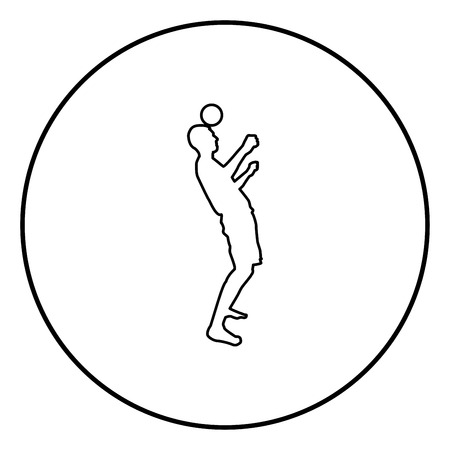 Man kicks the ball on head. Soccer player taps ball with his head Football concept Juggling trick with ball icon outline black color vector in circle round illustration flat style simple image