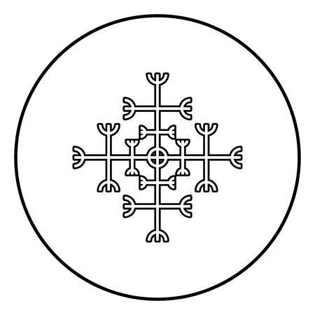 Helm of awe aegishjalmur or egishjalmur galdrastav icon outline black color vector in circle round illustration flat style simple image