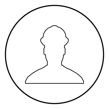 Avatar builder architect engineer in helmet view icon outline black color vector in circle round illustration flat style simple image