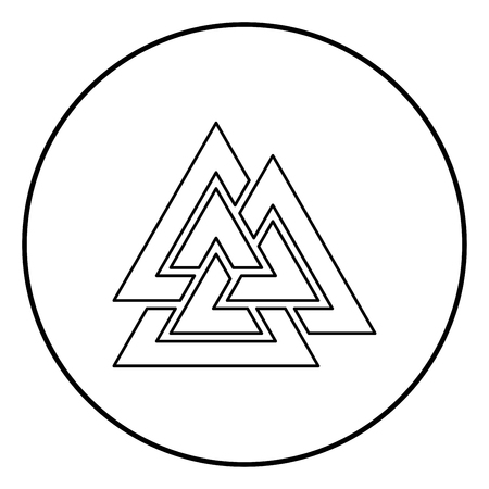 Valknut sign symblol icon outline black color vector in circle round illustration flat style simple image