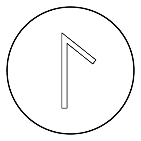 Lagu rune Laguz lake lagoon symbol icon outline black color vector in circle round illustration flat style simple image Vektorové ilustrace