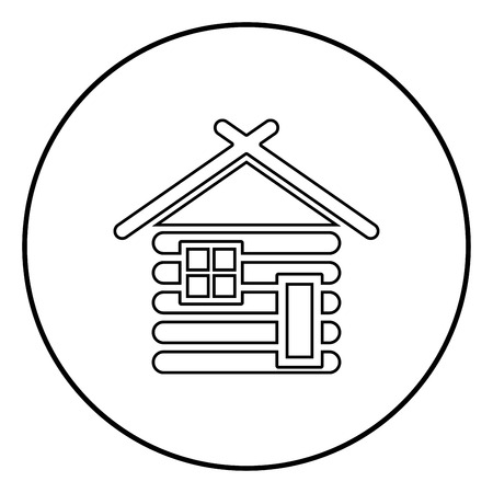 Wooden house Barn with wood Modular log cabins Wood cabin modular homes icon outline black color vector in circle round illustration flat style simple image