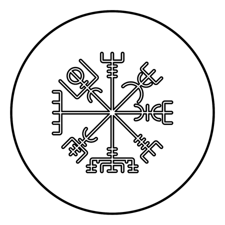 Vegvisir runic compass galdrastav Navigation compass symbol icon outline black color vector in circle round illustration flat style simple image