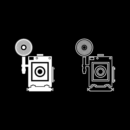 Retro camera Vintage photo camera face view icon set white color vector illustration flat style simple image Ilustração