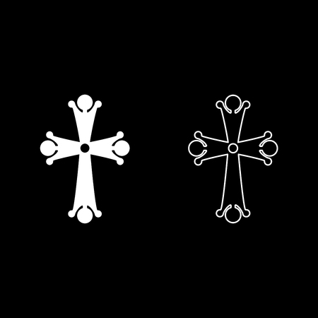 Four pointed cross drop shaped Cross monogram Religious cross icon set white color vector illustration flat style simple image